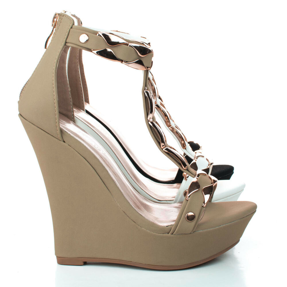 stephy90 open toe gold plated t platform wedge dress