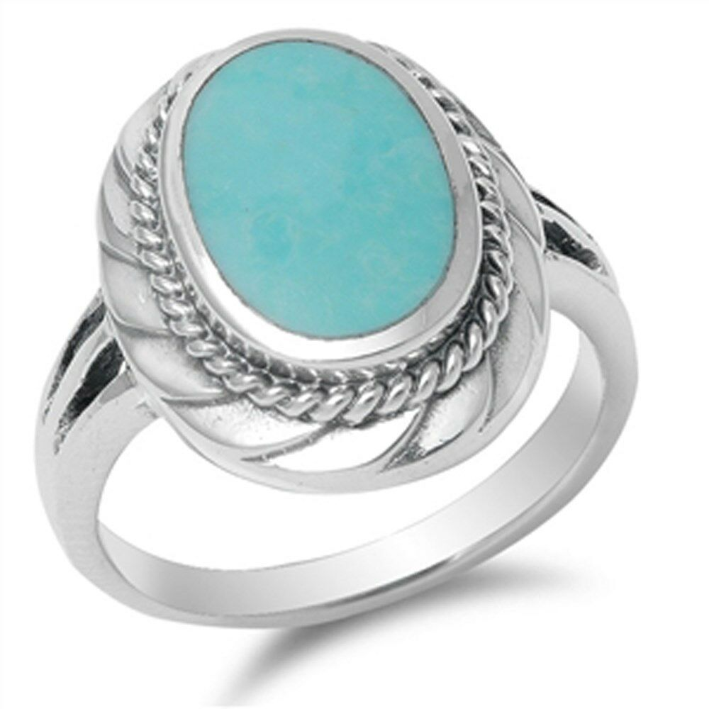 plain oval turquoise 925 sterling silver ring sizes 5 11