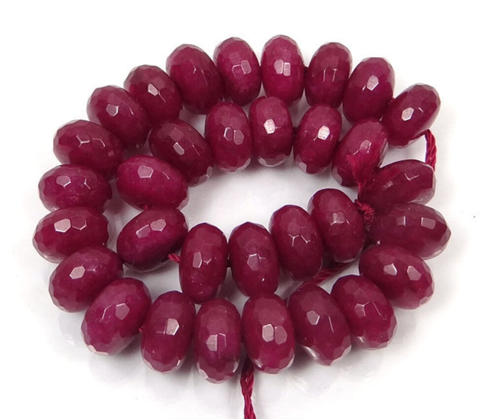 Red Ruby Beads: Genuine 5X8mm Faceted Red Ruby Rondelle Loose Beads 15