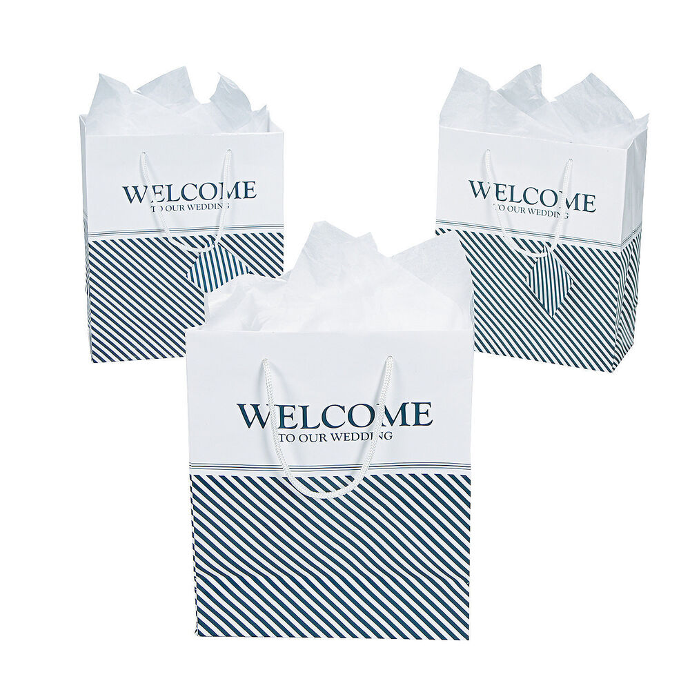 "Welcome To Our Wedding Weekend Gift Bags: Nautical Welcome To Our Wedding Gift Bags, 7"" X 9"" W/ Tag"