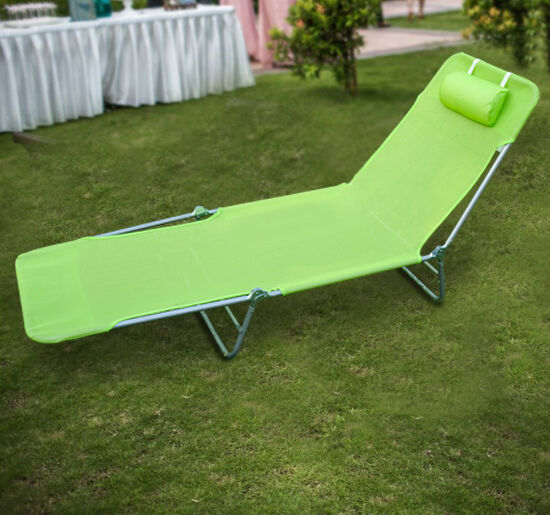 Outsunny adjustable sun lounger chaise folding beach for Beach chaise lounge folding