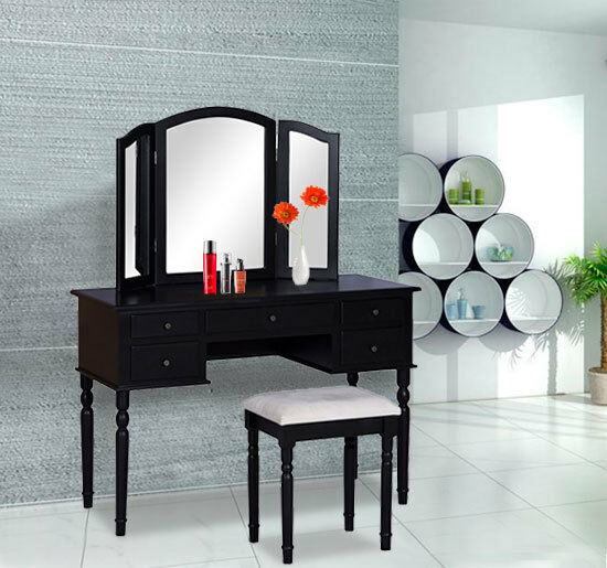 HomCom Wood Dressing Table Stool Bedroom Vanity Set Makeup Mirror 5 Drawer Bl