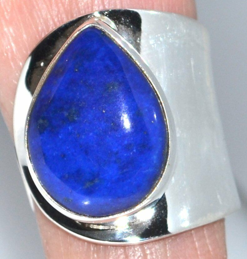 lapis sterling silver rings 925 adjustable size ring