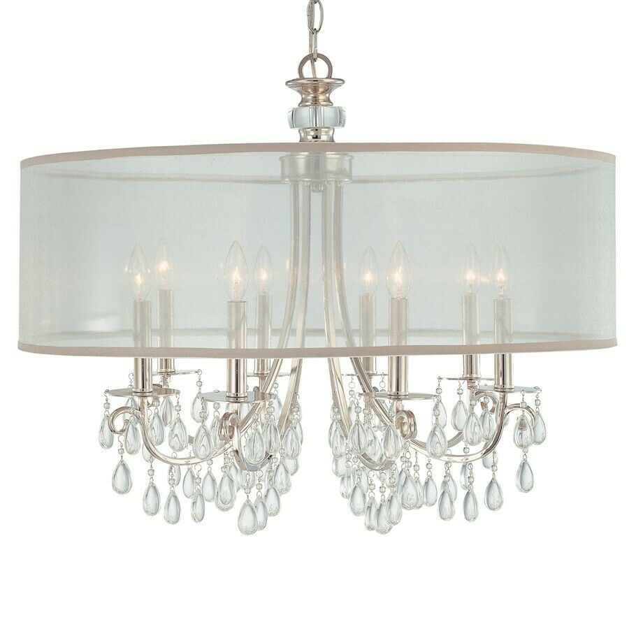 crystorama hampton polished chrome chandelier oyster. Black Bedroom Furniture Sets. Home Design Ideas