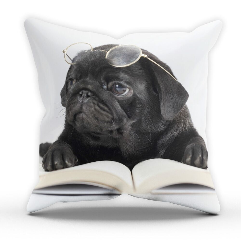 Cute Dog Pillow Beds : Black Pug Glasses Cute Dog Pillow Cushion Pad Cover Case Bed Home Animal Puppy eBay