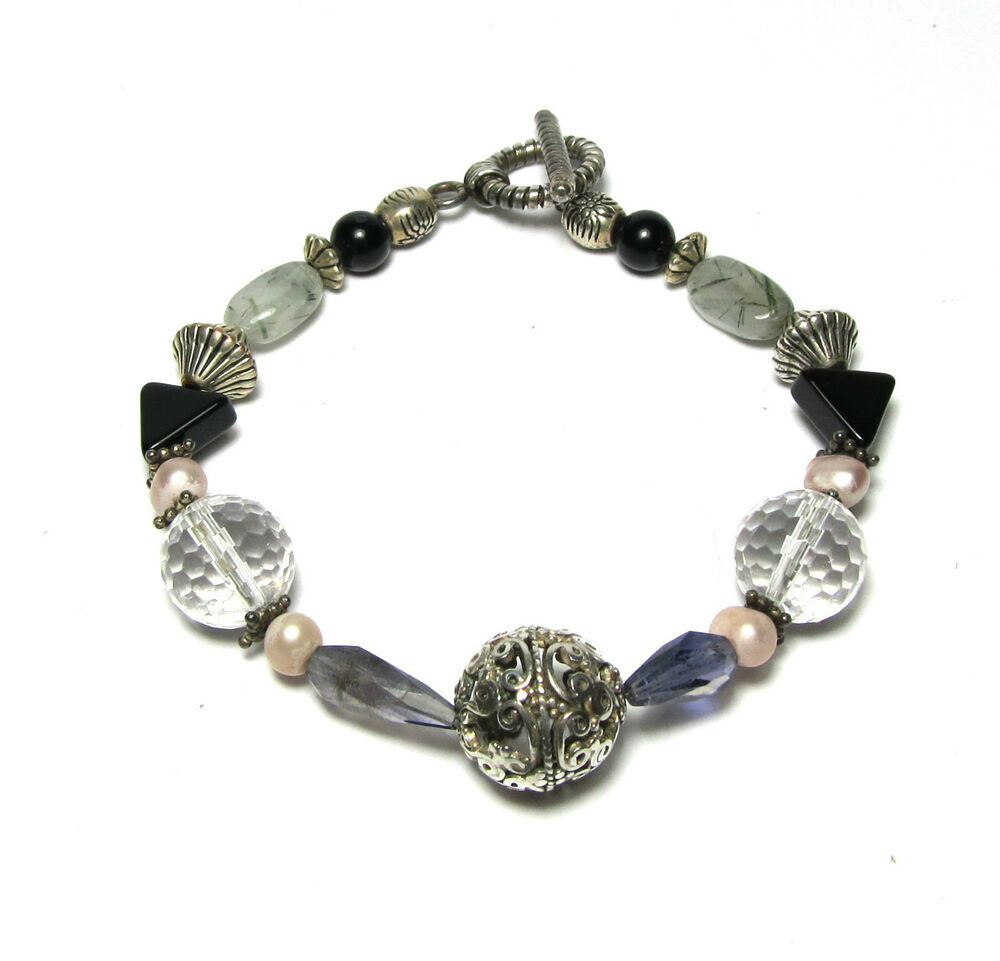 artisan handcrafted beaded bead bracelet sterling silver