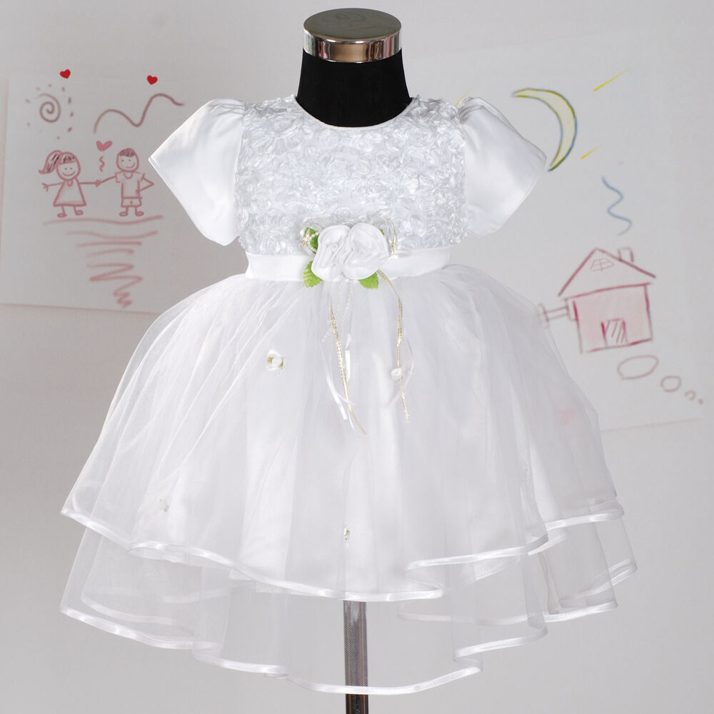 New white satin christening wedding flower girl party for 12 month dresses for wedding