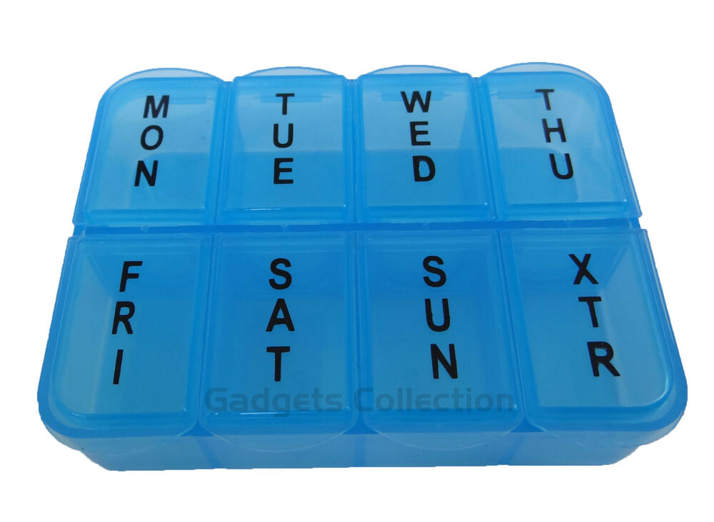 7 day plastic 8 compartments pill medicine container case organizer pink or blue ebay. Black Bedroom Furniture Sets. Home Design Ideas