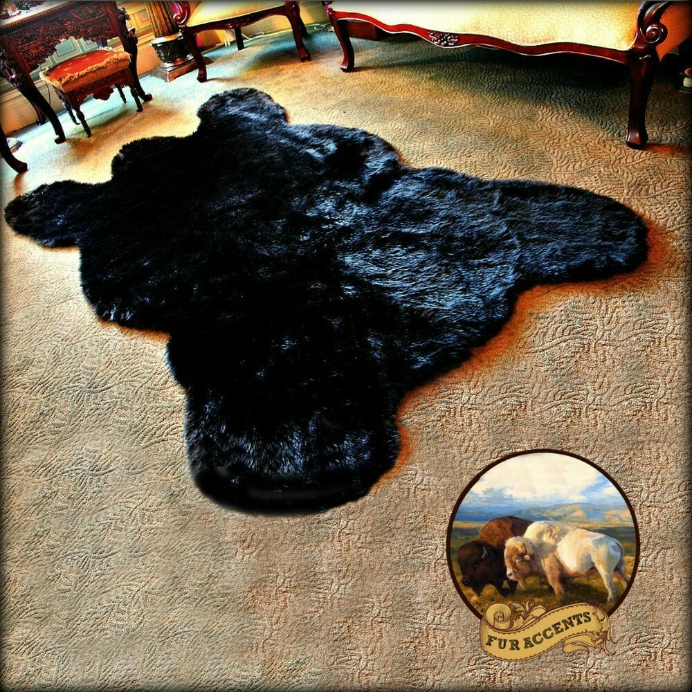 Fur Accents Black Bear Area Rug Faux Fur Bearskin Throw 5