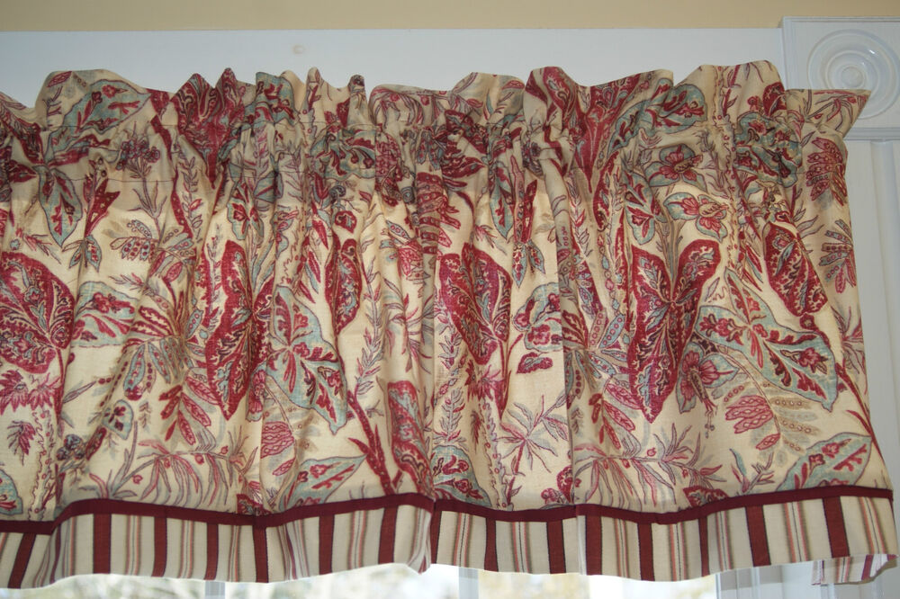 Spice Island Vintange Waverly Red Teal Toile Valance 17 Quot X