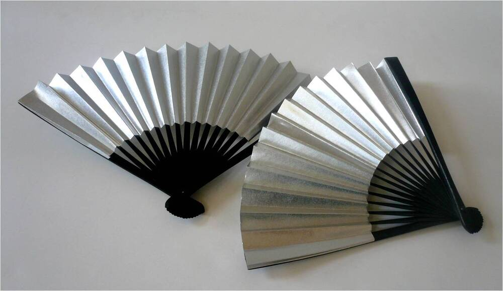 Set of 2 japanese 7 l silver decorative sensu fan home for Home decorations fan