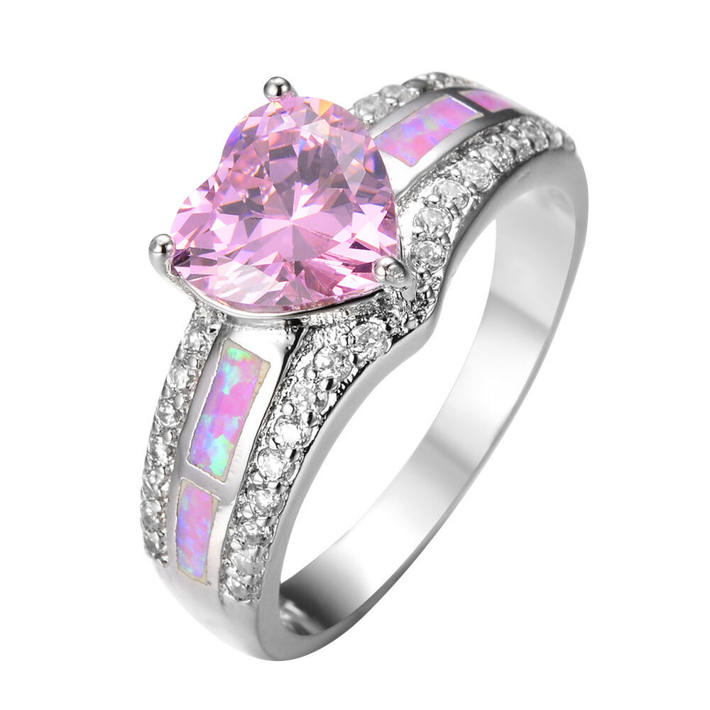 Black And Pink Heart Wedding Rings: Heart Pink Sapphire& Fire Opal Wedding Ring 10KT White