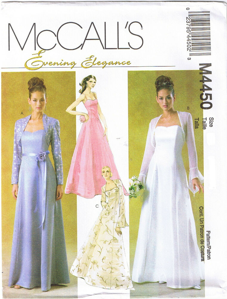 Floor length bridal wedding prom dress gown shrug sewing for Wedding dress sewing patterns free