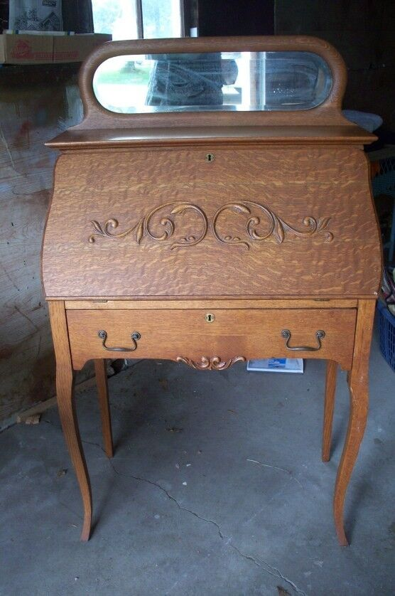 Antique Ladies Drop Down Secretary Writing Desk Oak With