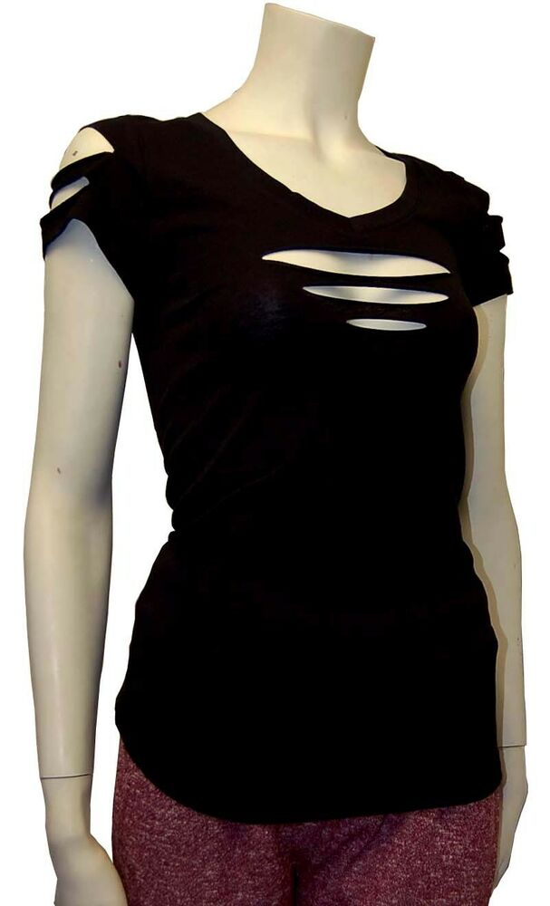 Cute Cut Out Ripped Arms Front Short Sleeve Shirt