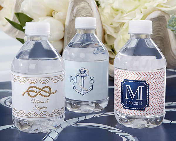 24 personalized nautical theme water bottle labels bridal