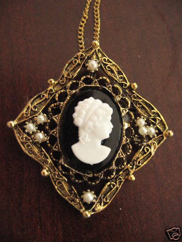Vintage Square Cameo Pin Gold Plated Necklace Pendant Faux