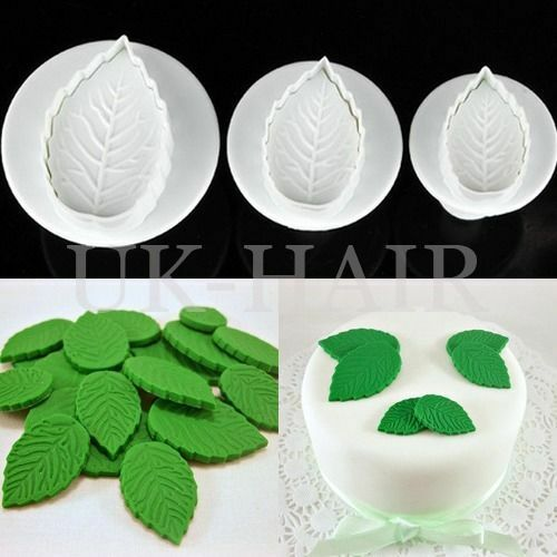Cake Decorating Modelling Icing : 3pcs Fondant Cake Icing Decorating Rose Leaf Sugarcraft ...