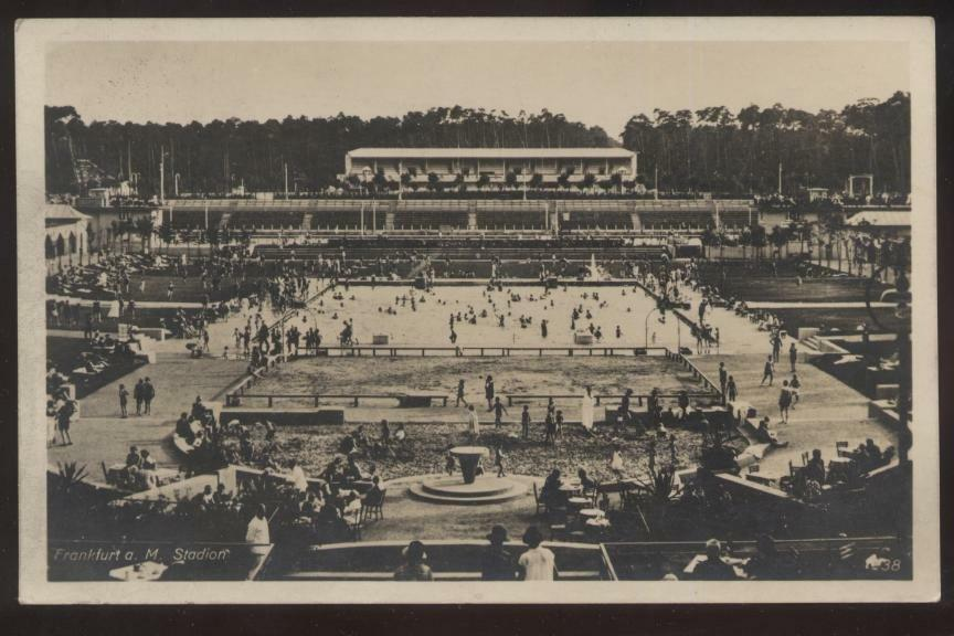 rp pc frankfurt germany athletic stadium large swimming pool aerial view 1930s ebay. Black Bedroom Furniture Sets. Home Design Ideas