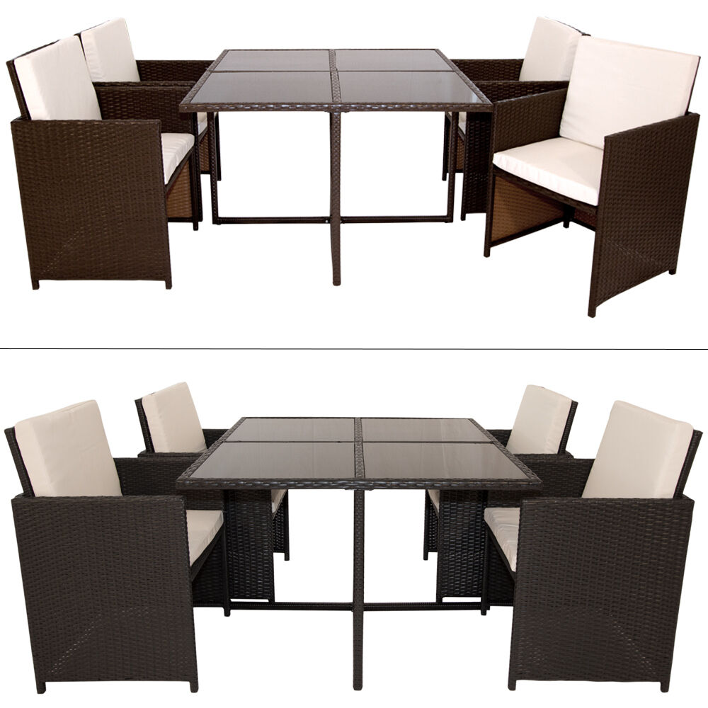 polyrattan sitzgruppe essgruppe gartenm bel poly rattan gartenset lounge ebay. Black Bedroom Furniture Sets. Home Design Ideas