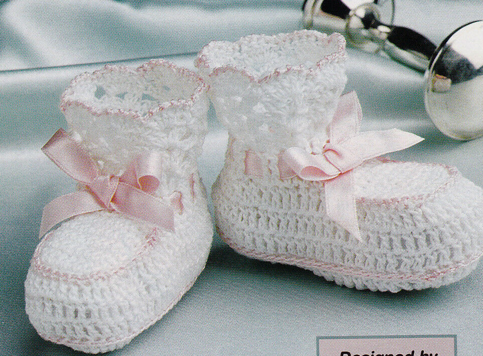 Crochet Pattern ~ BABY LACE EDGED BOOTIES ~ Instructions ...