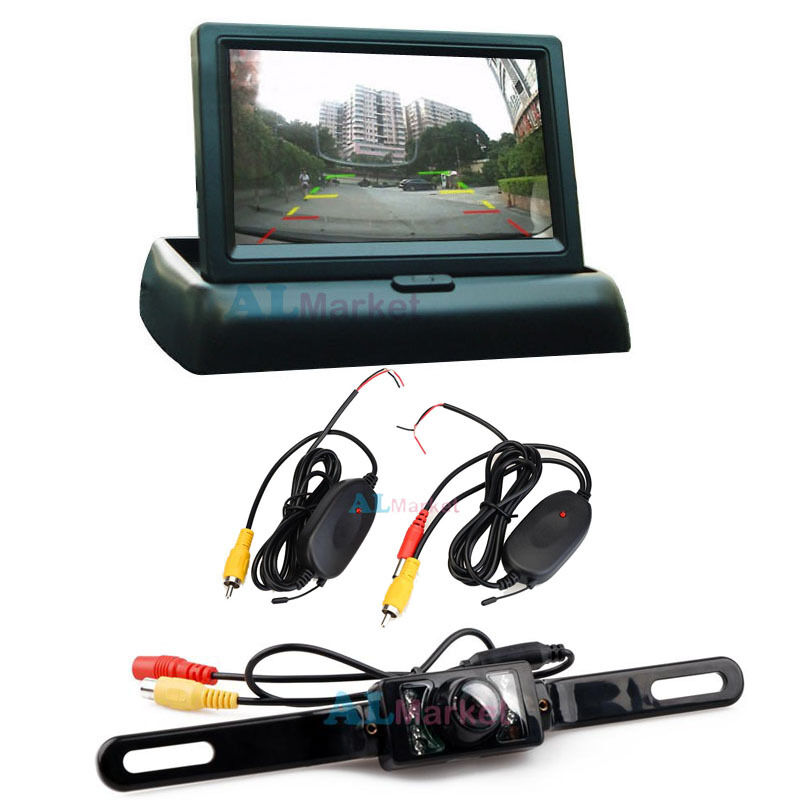 "4.3"" Foldable Monitor + Wireless Car Rear View System"