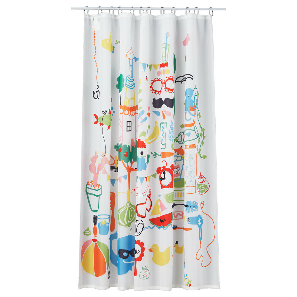 ikea brand multi colorfull children 39 s fun polyester shower curtain for bathroom ebay. Black Bedroom Furniture Sets. Home Design Ideas