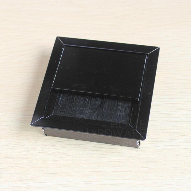 desk wire grommet flip open aluminum black 3 table top hole cover square ebay. Black Bedroom Furniture Sets. Home Design Ideas