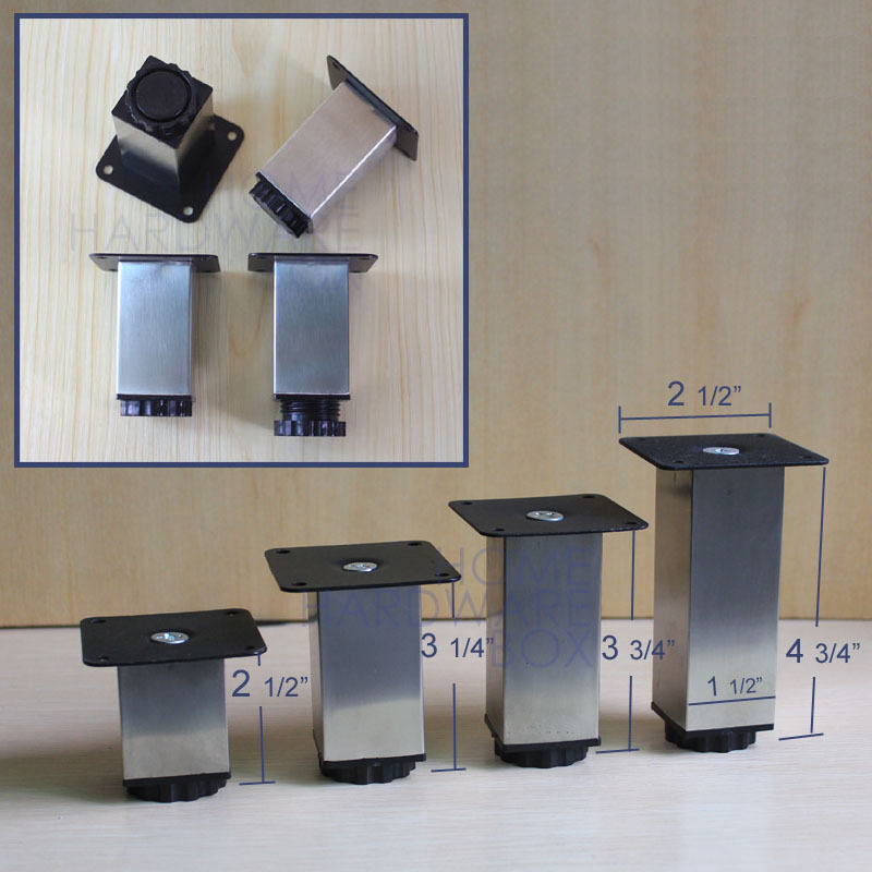 Adjustable Stainless Steel Kitchen Cabinet Legs: 4 Pc Furniture Cabinet Square Metal Legs Adjustable