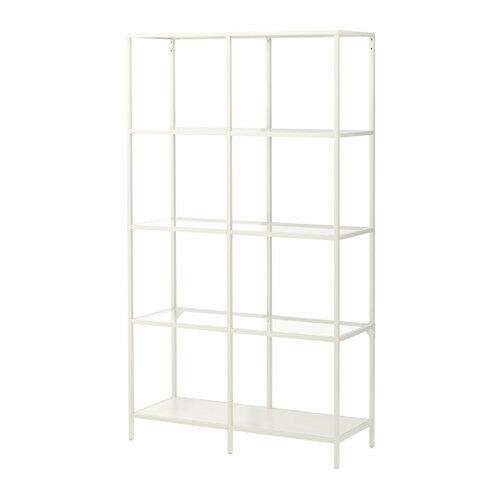 ikea vittsj shelving unit metal frame display modern white glass vittsjo ebay. Black Bedroom Furniture Sets. Home Design Ideas