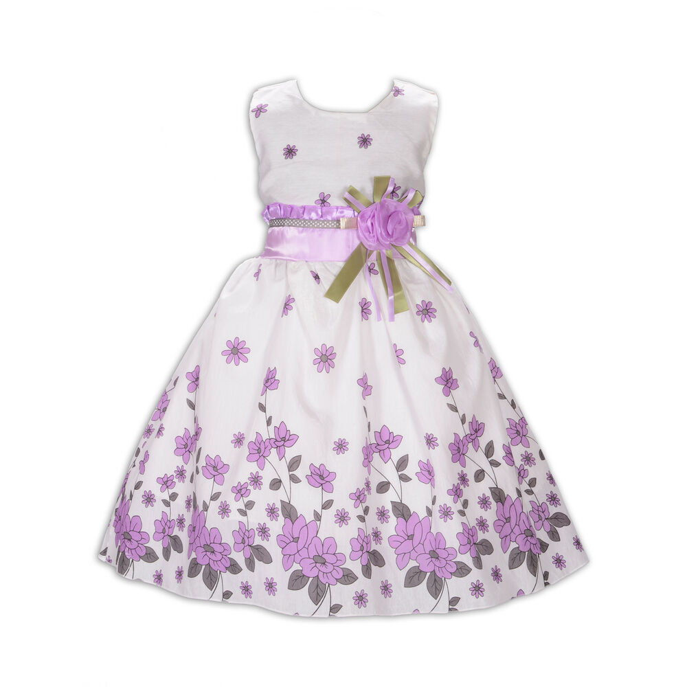 New Girls Flower Party Dress In Red Lilac Blue 5 6 7 8 9