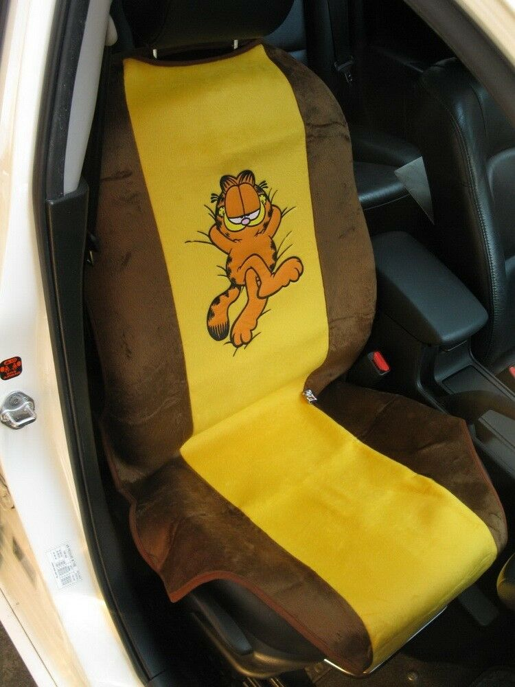 garfield car accessory 1 piece car seat cover yellow brown ebay. Black Bedroom Furniture Sets. Home Design Ideas