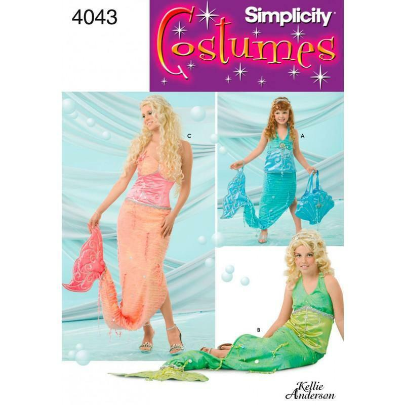 SIMPLICITY SEWING PATTERN Child, Girl and Miss Mermaid Costumes ALL ...