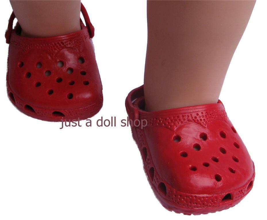 Doll Clothes Shoes Rubber Clogs Red Fit 18 Inch American Girl Ebay