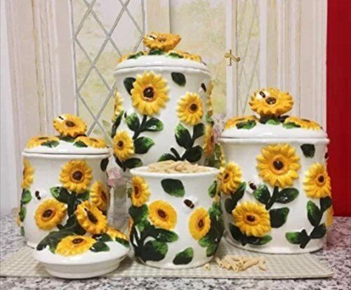 country sunflower kitchen decor 3 d sunflower 4 canisters set 83001 new ebay 6234