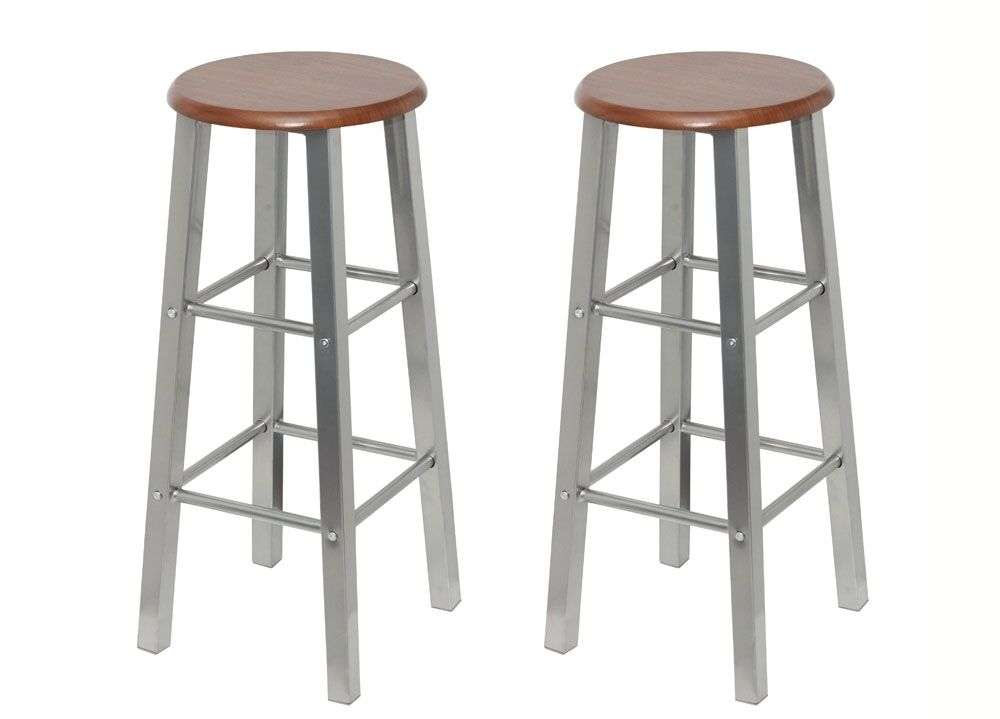B Set 2 Bar Stools Breakfast Kitchen Bar Stool Barstools Wooden Seat Ebay