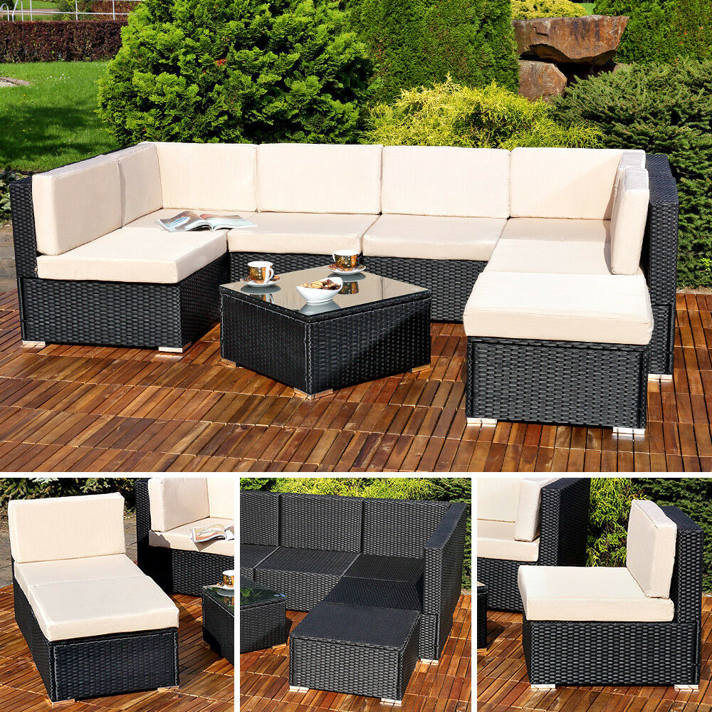 xxl lounge garnitur polyrattan terassen sitzgruppe liegesofa rattanm bel 4250357365727 ebay. Black Bedroom Furniture Sets. Home Design Ideas