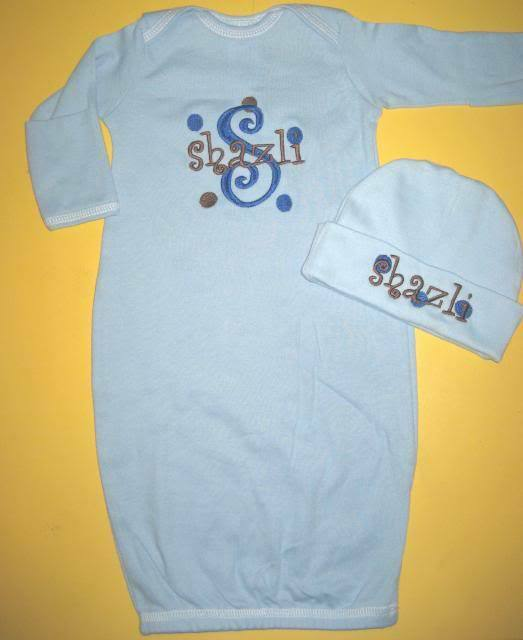 Personalized Baby Boy Or Girl Sleeper Gown T Shirt Hat
