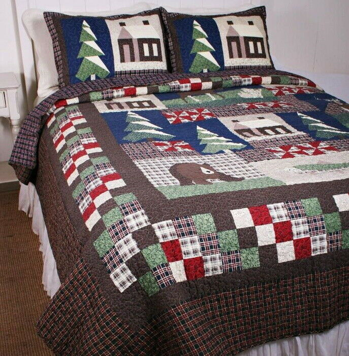 Mountain Trip King Quilt Set Lodge Cabin Bear