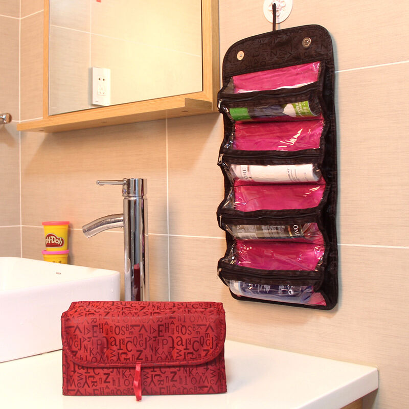 Roll Up Cosmetic Organizer Makeup Case Travel Toiletry Bag
