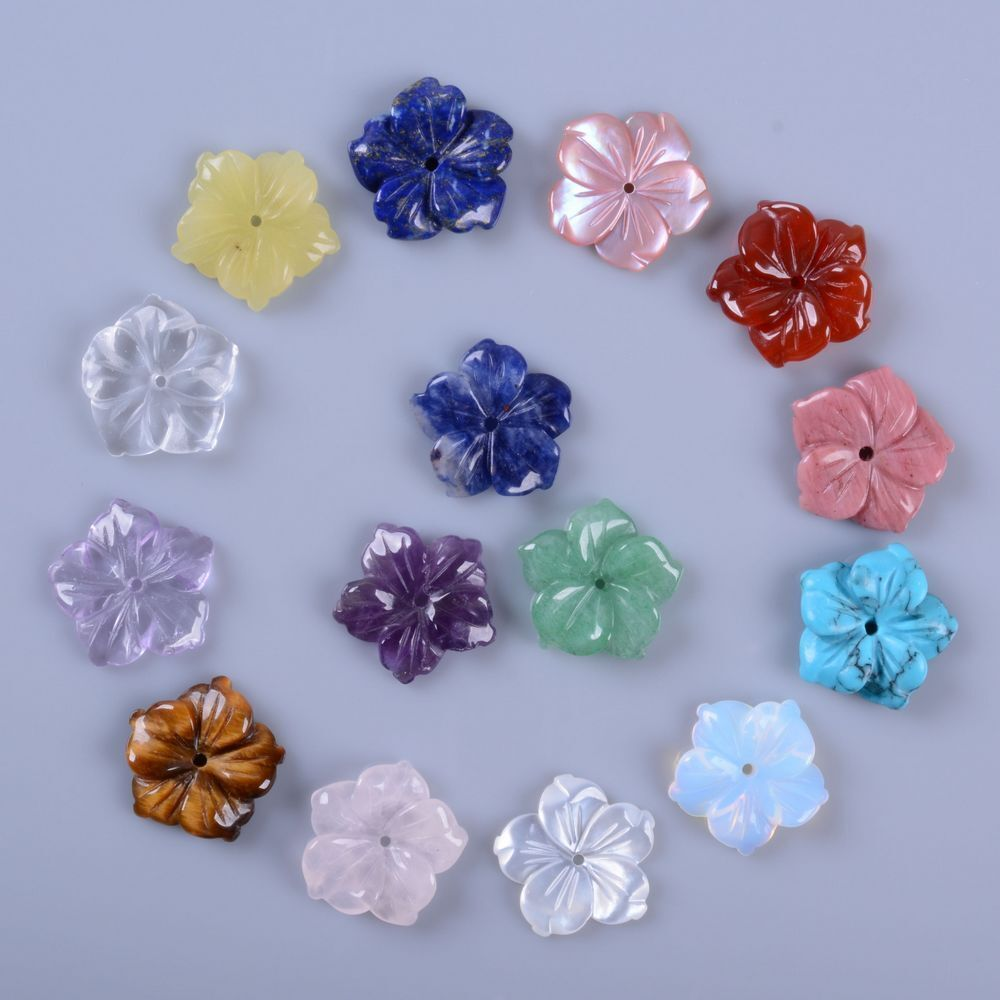 15mm center drilled small hand carved gemstone flower for Birthstone beads for jewelry making