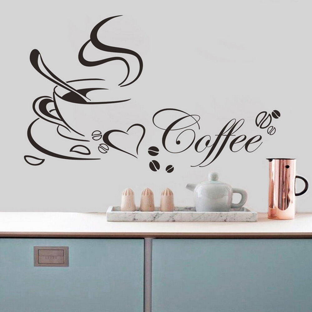 Art Diy Coffee Cup Heart Cafe Home Kitchen Window Decor
