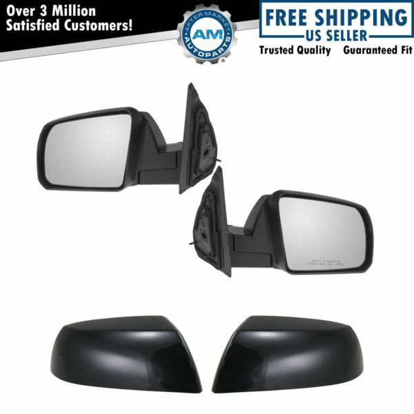 Manual Side View Mirror w/ Black Cap Pair Set for Tundra Sequoia