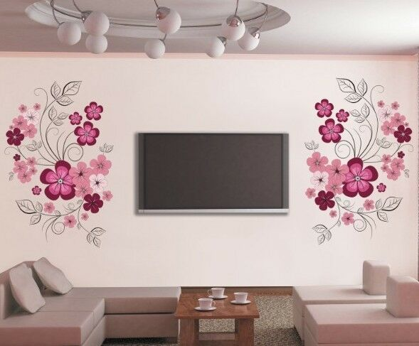 wandtattoo wandaufkleber blumenranke blumen wandsticker wohnzimmer schlafzimmer ebay. Black Bedroom Furniture Sets. Home Design Ideas