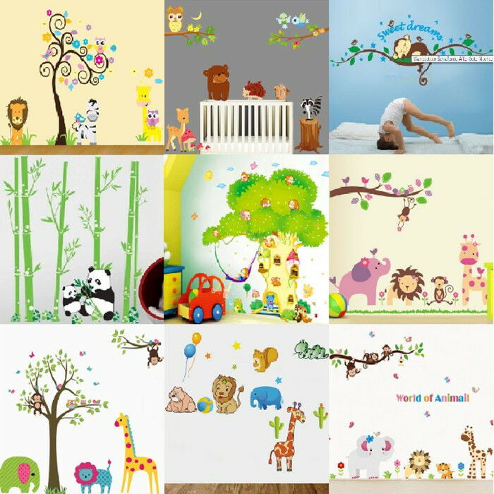 wandtattoo waldtier tiergarten zoo 9 motive wandaufkleber kinderzimmer sticker ebay. Black Bedroom Furniture Sets. Home Design Ideas