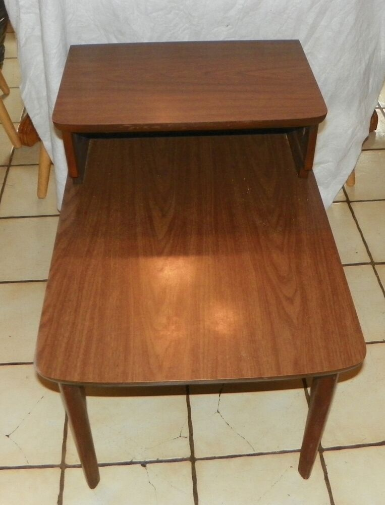 Side Table: Walnut Mid Century Formica Top Step End Table / Side Table