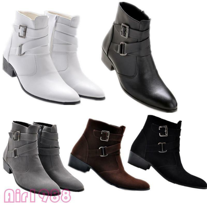 Fashion Men's Pointy Toe Buckles Chunky Low Heel Ankle Boots ...