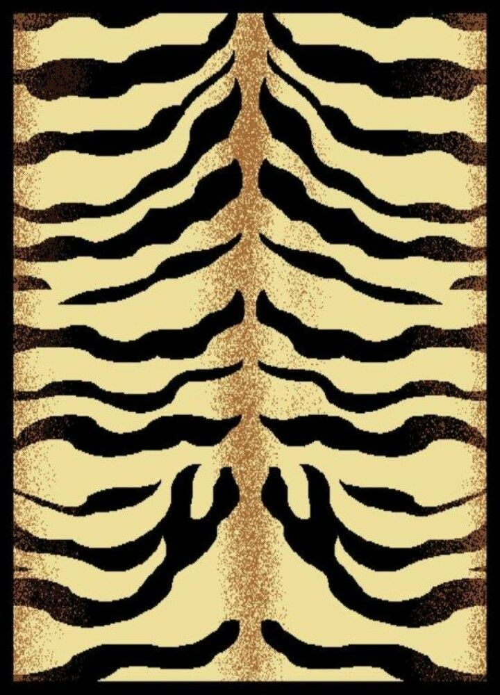 Beige And Black Zebra Skin Design 5x8 Area Rug Carpet Ebay