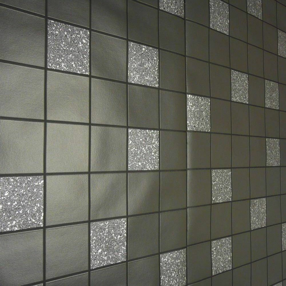 holden decor dark grey glitter effect granite silver tile on a roll wallpaper ebay. Black Bedroom Furniture Sets. Home Design Ideas