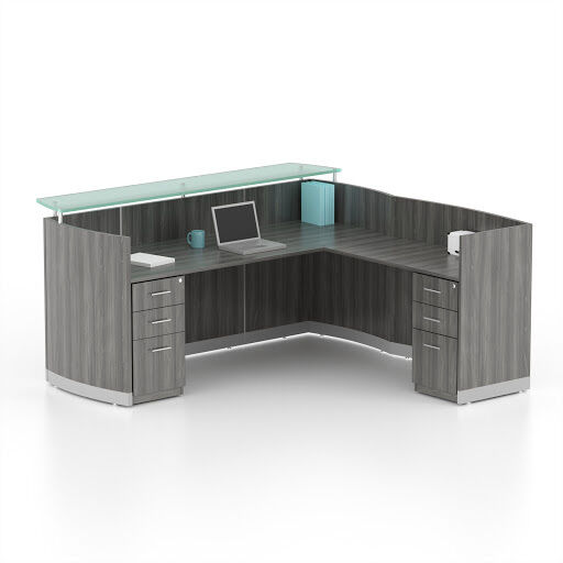 reversible grey steel laminate l shape reception desk textured glass counter bow front reception counter office
